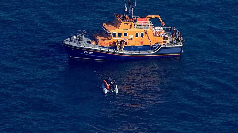 A rescue operation is underway for these suspected migrants off the Dover coast