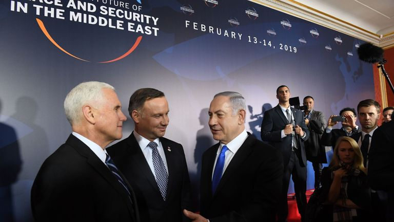 Mr Pence met with Israel's Benjamin Netanyahu before the opening session of the conference