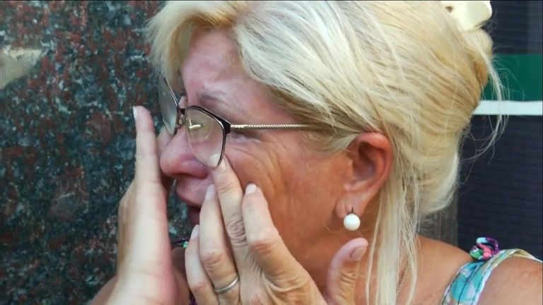 Sala's aunt Mirta Taffarel is left in tears after his body arrives in Argentina