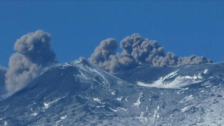 Mount Etna sends clouds of volcanic ash skyward