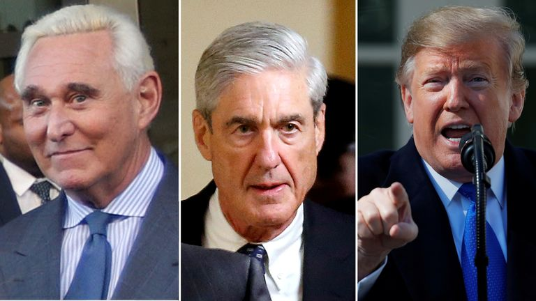 Left to right: Roger Stone, Robert Mueller and Donald Trump