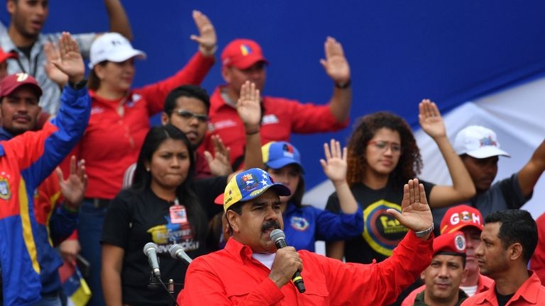 Nicolas Maduro speaking to his supporters at a rally in February