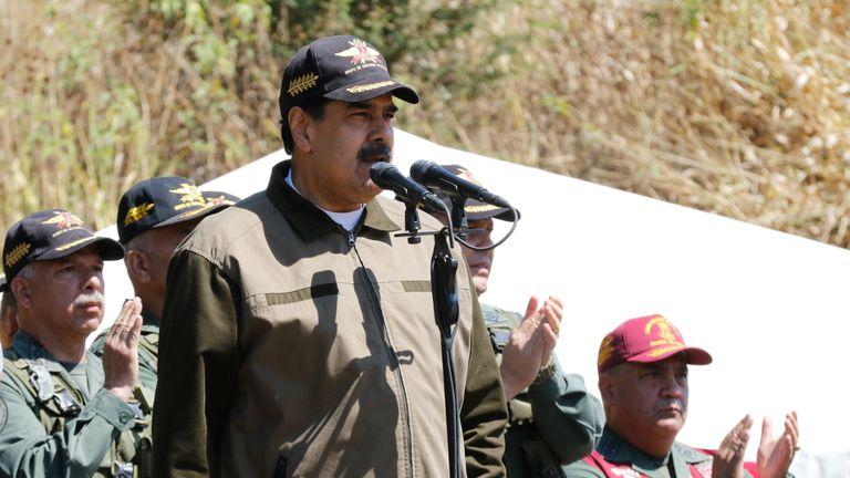 President Nicolas Maduro spoke at a military exercise yesterday