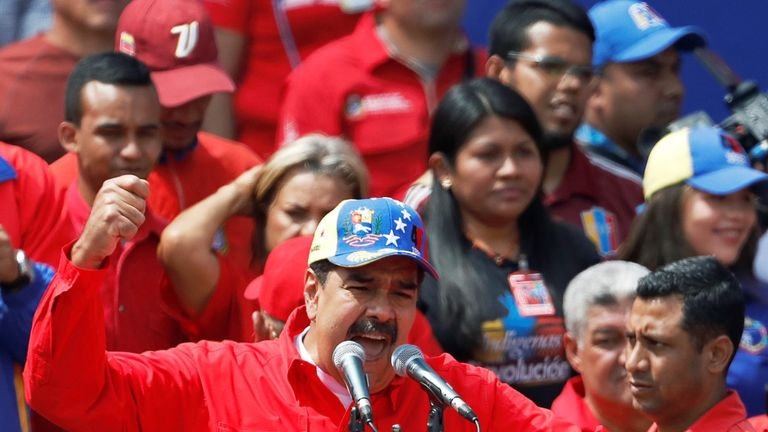 Nicolas Maduro made a speech to his supporters as anti-government protests took place across Caracas
