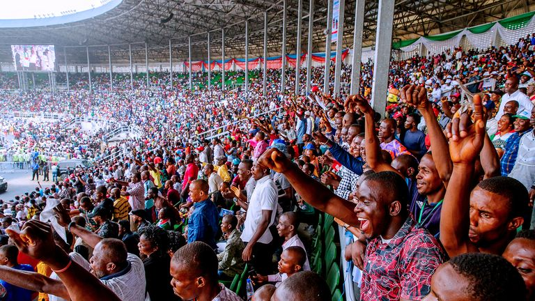 Supporters of Muhammadu Buhari attend the rally in Rivers State