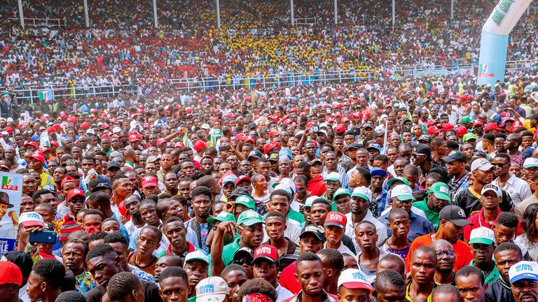 A campaign rally ahead of Nigeria's presidential election in Rivers State on Tuesday 12 February