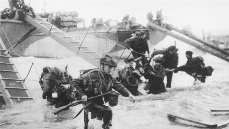 Royal Marines land on Juno Beach on D-Day, 6 June 1944