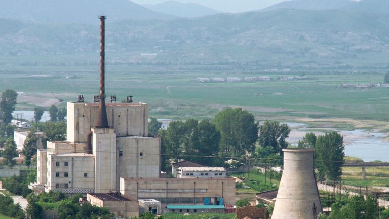 The Yongbyon nuclear plant in North Korea is seen before demolishing a cooling tower. REUTERS/Kyodo
