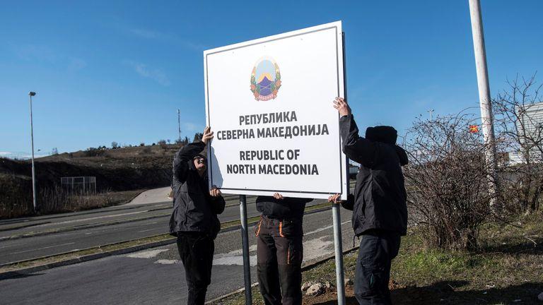 New road signs erected as North Macedonia adopts its new name
