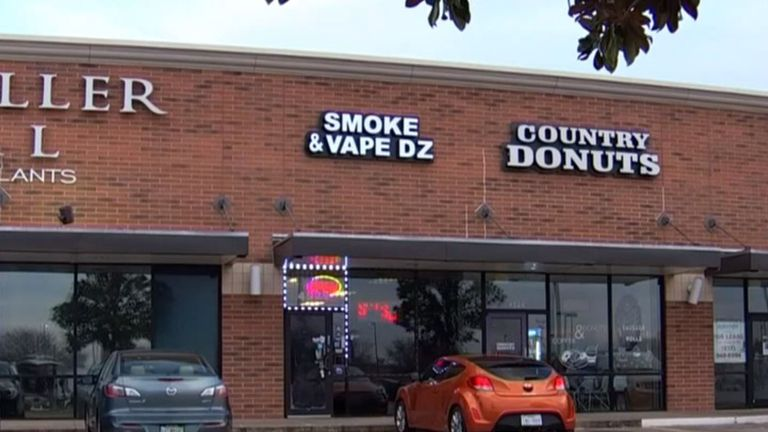 Mr Brown was smoking outside an e-cigarette shop in North Texas. Pic: NBC