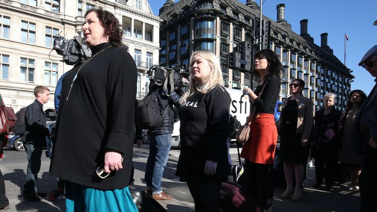 Derry Girls cast members Siobhan McSweeney (left) and Nicola Coughlan on the march in London