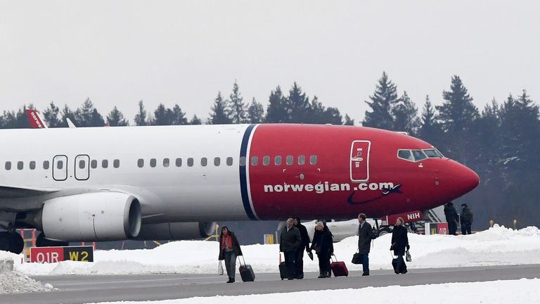 The plane, carrying 169 passengers, was evacuated after it landed in Stockholm
