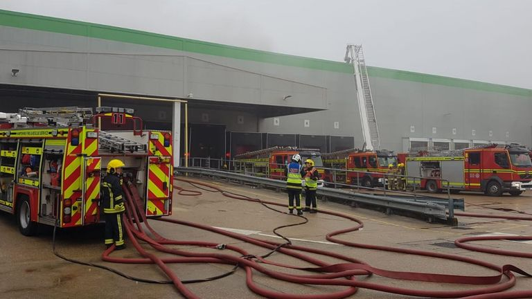 Crews have used breathing apparatus and an aerial platform to try and extinguish the fire. Pic: @Hants_fire
