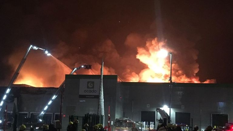 More than 200 firefighters have been battling to put out the flames. Pic: Fareham fire station