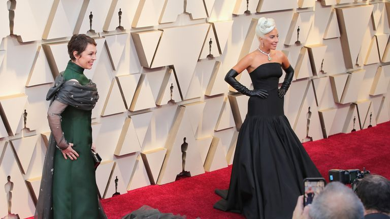 lady gaga and Olivia Colman attend the 91st Annual Academy Awards at Hollywood and Highland on February 24, 2019 in Hollywood, California.