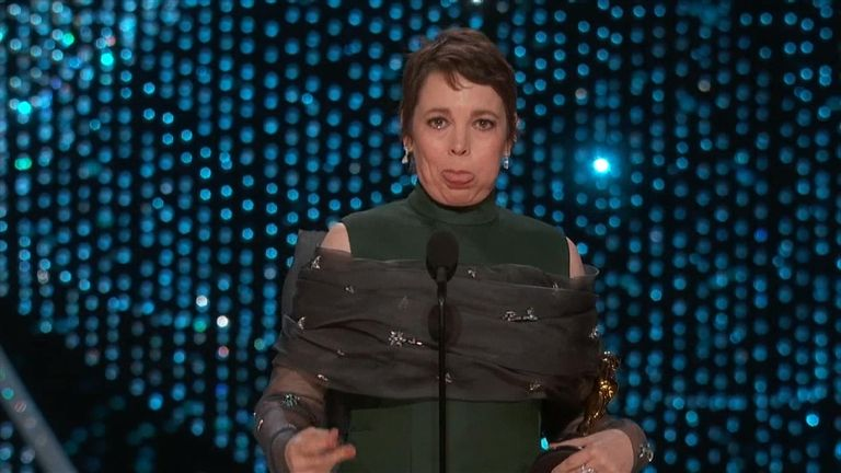 Best actress winner Olivia Colman blew a raspberry at Oscars producers who told her to wrap up her acceptance speech.