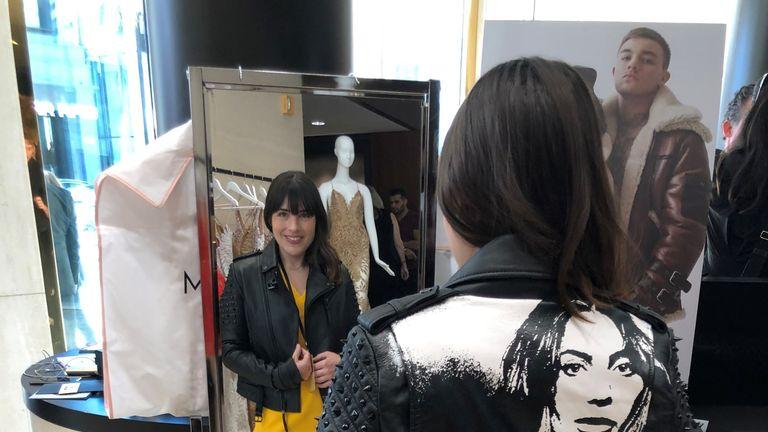Bethany Minelle tries on Lady Gaga's jacket