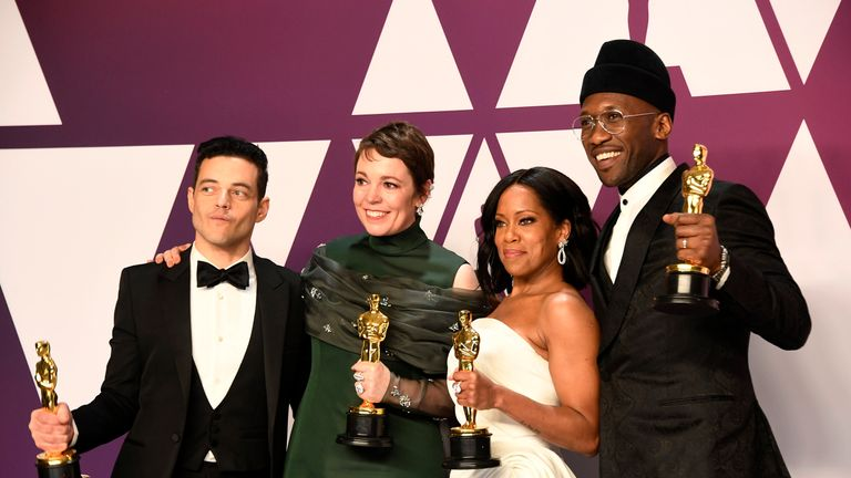Rami Malek, Olivia Colman, Regina King and Mahershala Ali celebrate their Oscar wins