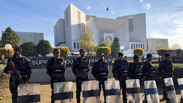Paramilitary soldiers standing guard outside the Supreme Court building in Islamabad
