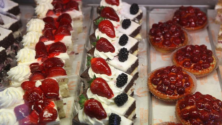 Cakes in the window of Patisserie Valerie in London