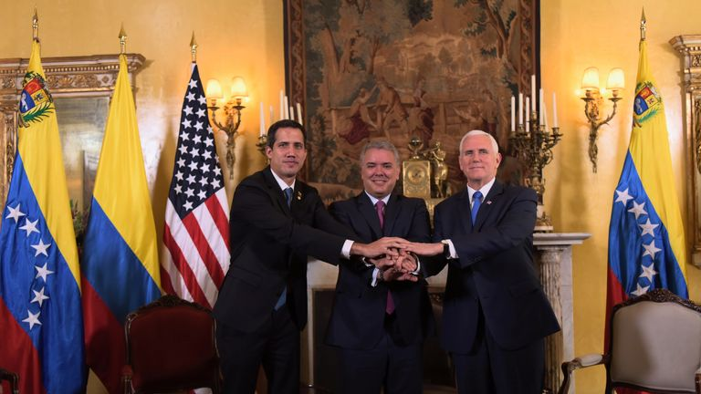 Venezuelan opposition leader Juan Guaido (L) with Colombian President Ivan Duque (C) and US Vice President Mike Pence (R)