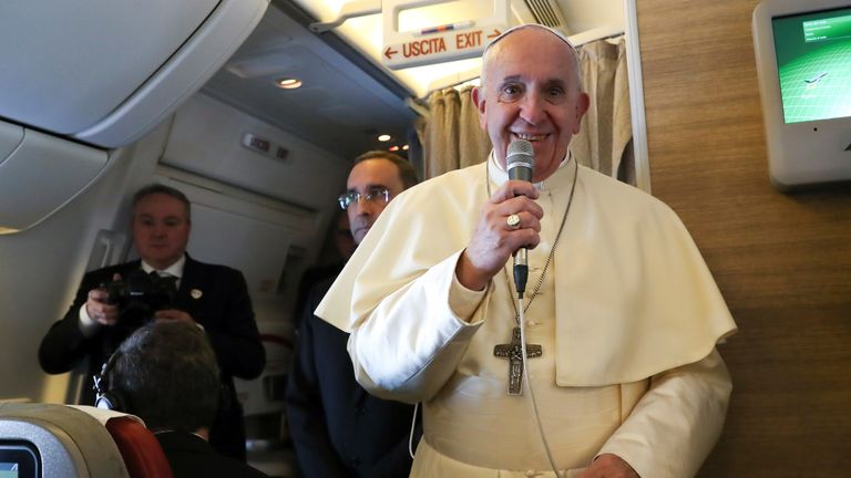 The pope spoke to reporters on the flight to Abu Dhabi