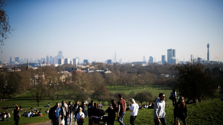 Londoners enjoyed the sunny weather on Primrose Hill