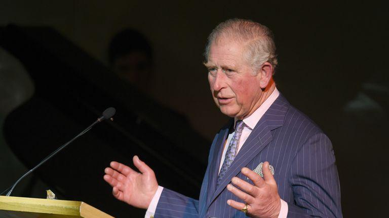 Prince Charles, Prince of Wales speaks as he visits the Kensington Aldridge Academy