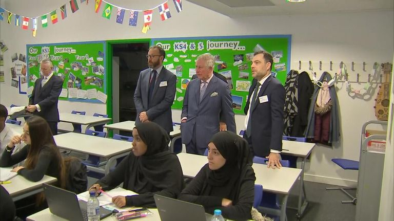 Visiting the Kensington Aldridge Academy, Charles also said the pupils could be the next generation of cyber security experts.