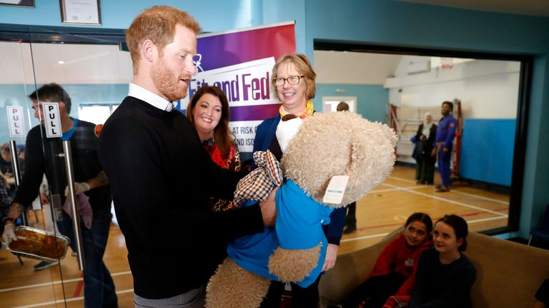 Prince Harry was given a large teddy for his and Meghan's unborn child
