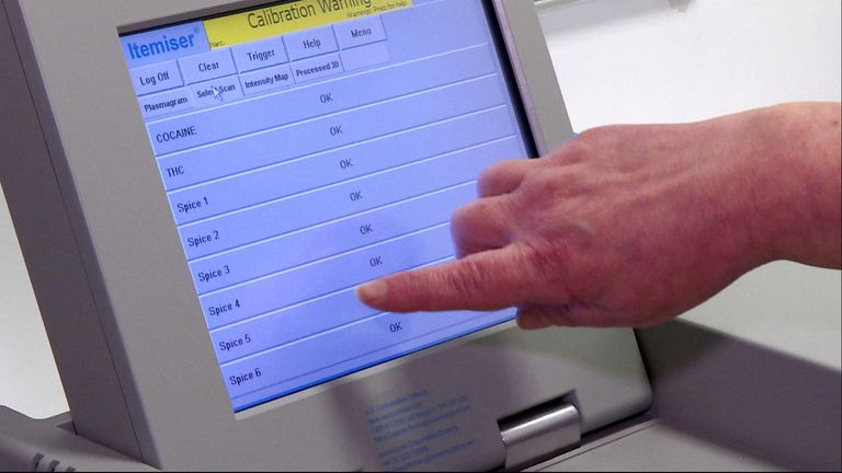A scanner can check for traces of drugs including Spice and cocaine