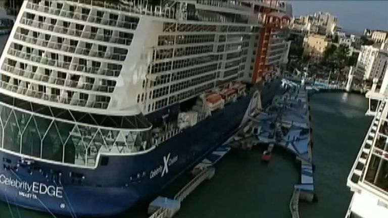 Cruise ship hits dock in prevailing wind