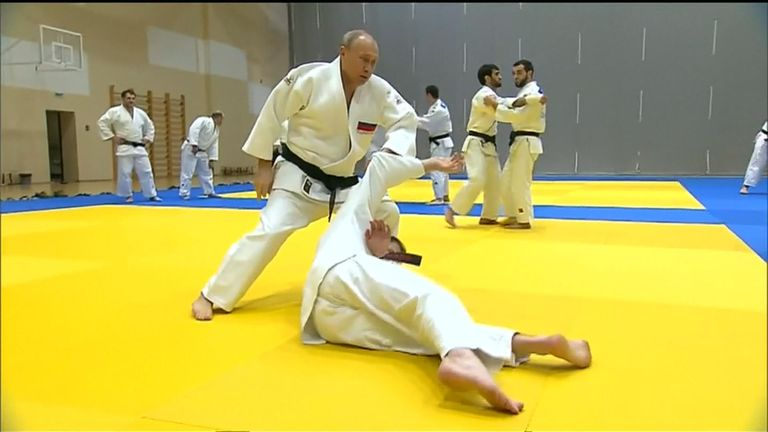 Russian President Vladimir Putin - himself a black belt - took part in the training session of the country's national judo team.