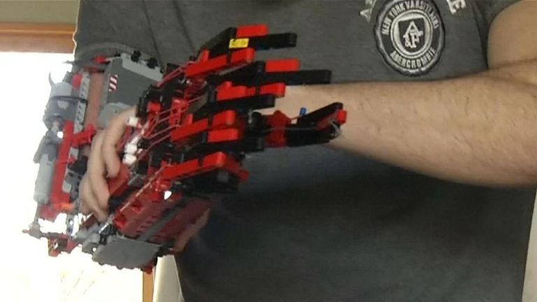 Spaniard David Aguilar has built himself a robotic prosthetic arm using  Lego pieces after being born without a right forearm due to a rare genetic  condition