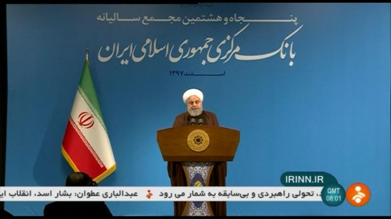 President Rouhani addressed an audience after the resignation of his foreign minister.