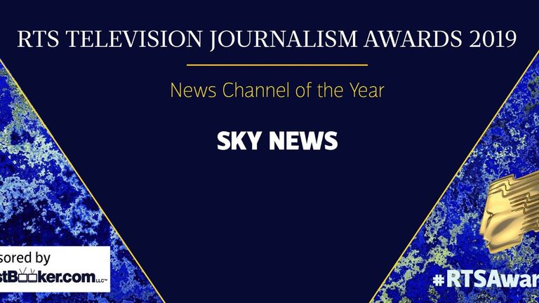 Sky News won news channel of the year for the second year in a row