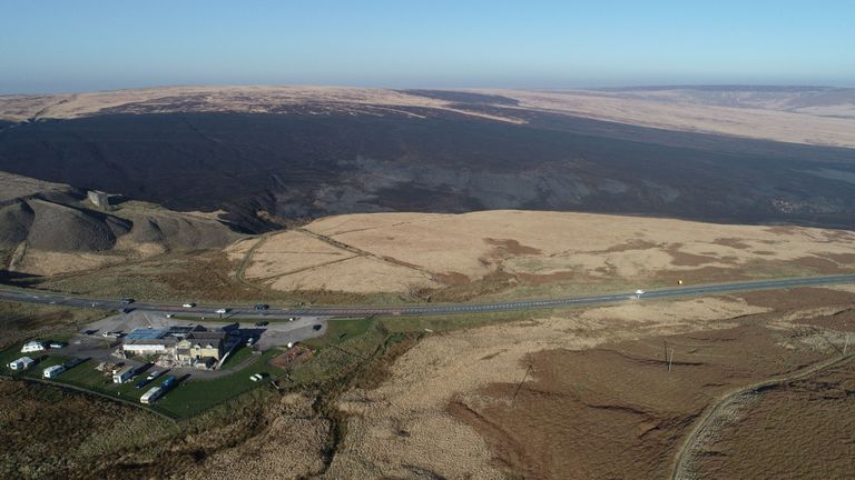 Damage caused by the fire on Saddleworth Moor