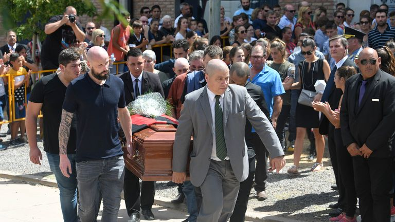 Sala's brother, agent and a teammate from FC Nantes were among those carrying his coffin