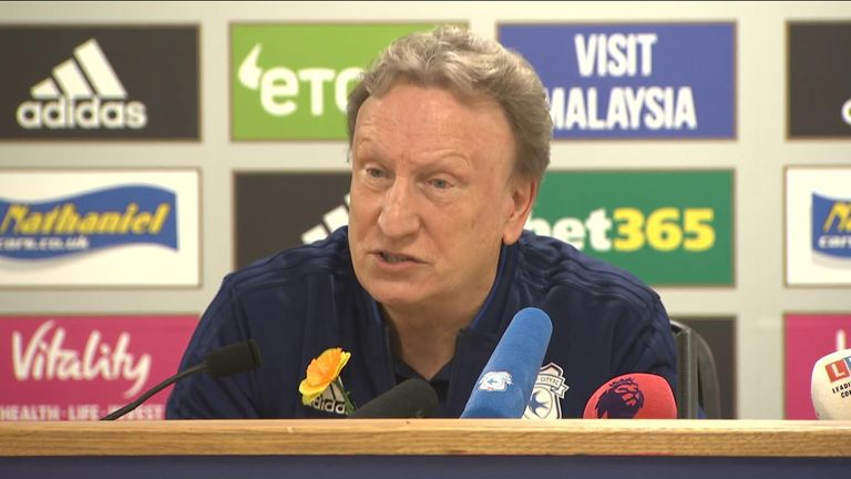 Neil Warnock gives a press conference after the body of Emiliano Sala is discovered.