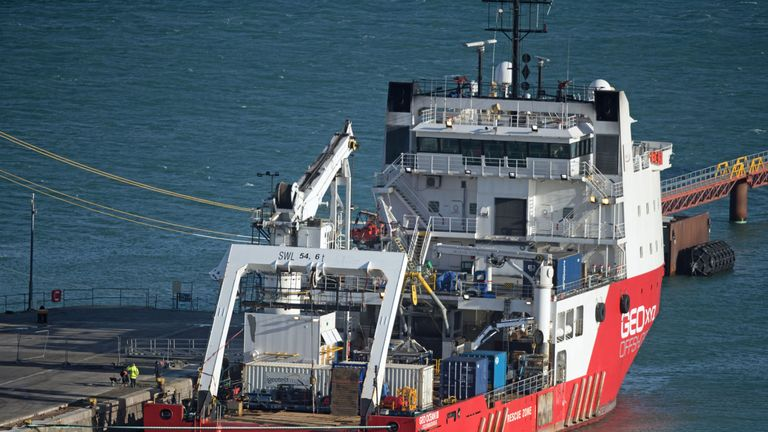The Geo Ocean III specialist search vessel docked in Portland, Dorset which has brought back the body recovered from the wreckage of the plane