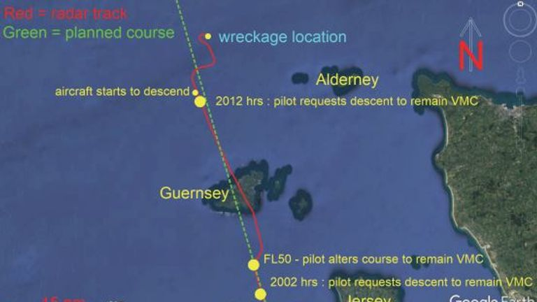 Aircraft track in the vicinity of Guernsey