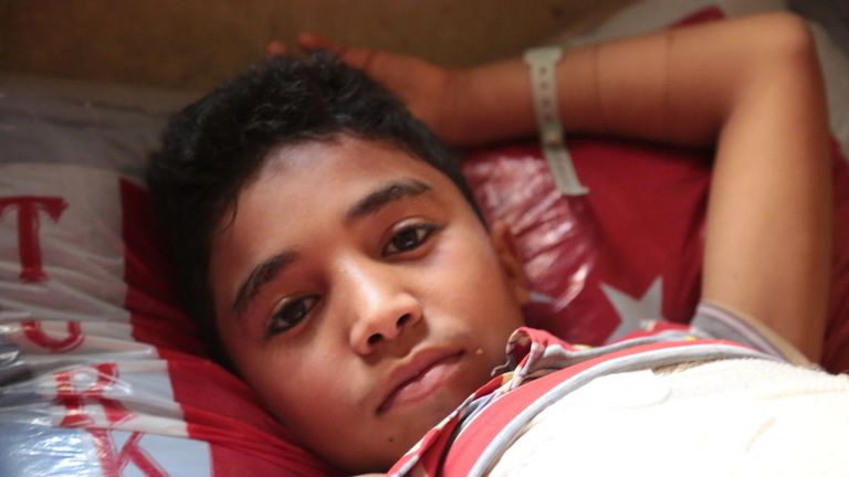 Saleh has been unable to walk for more than a year. Pic: Save the Children