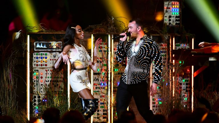 Winnie Harlow and Sam Smith performed at this year's Brit Awards