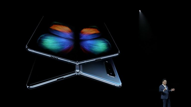 The new Samsung Galaxy Fold smartphone is unveiled in San Francisco