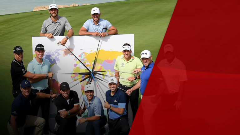 Golfers pose for a photo promoting the Saudi competition