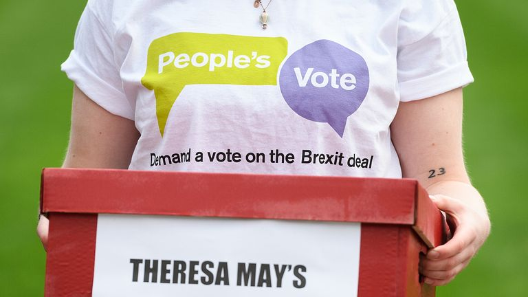 LONDON, ENGLAND - JANUARY 14: Supporters of the 'People's Vote' campaign group demonstrate outside the Houses of Parliament, calling for another referendum on the Brexit decision, on January 14, 2019 in London, England. MPs will vote tomorrow on whether to support the Prime Minister's Brexit plan, which has faced criticism from all supporters on both sides of the debate. (Photo by Leon Neal/Getty Images)