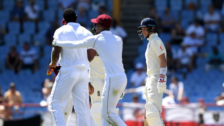 Shannon Gabriel confronts England captain Joe Root
