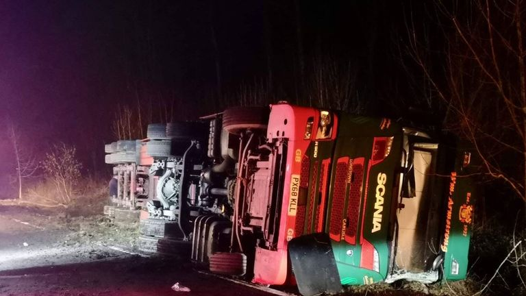 The hgv was left on its side after the accident. Pic: Police Scotland