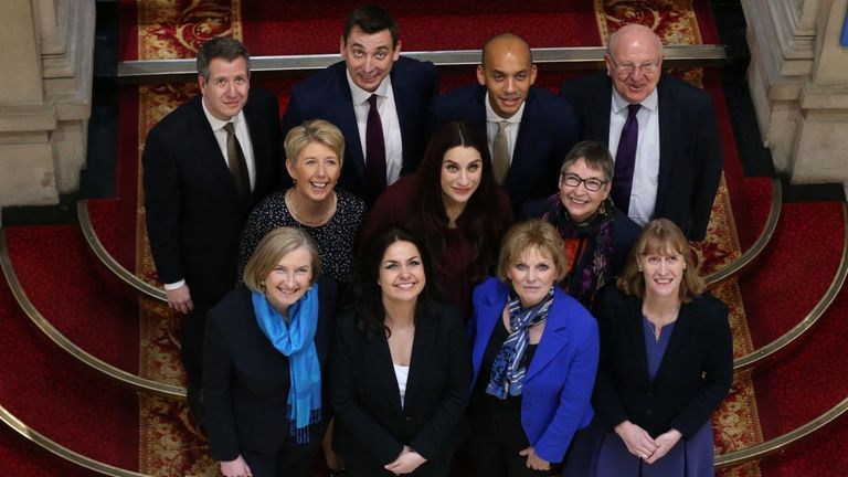 Sarah Wollaston, Heidi Allen and Anna Soubry (front row left to right) join their new Independents Group colleagues
