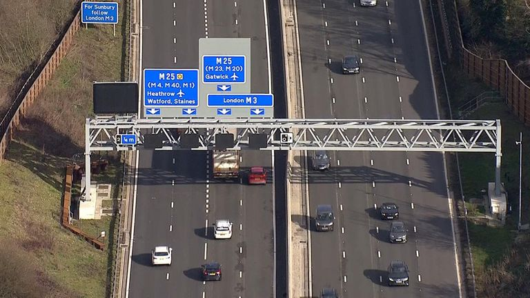 Smart motorways have screens that can light up to indicate lane closures